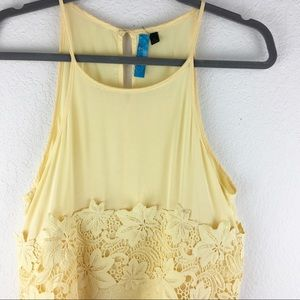 Anthropologie Silky Lace Floral Tank